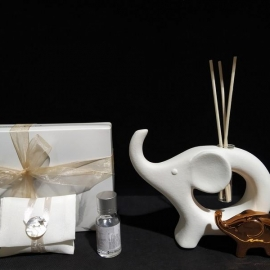 diffusore elefante con kit essenza e piccolo in gold